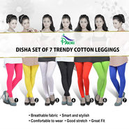 Disha Set of 7 Trendy Cotton Leggings