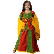 Little India Ethnic Designer Girls Lehanga Choli - Red Green - DLI3GED105B