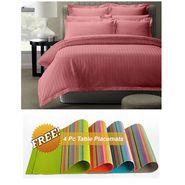 Storyathome Pink Satin Stripes King Size 1 Bedsheet + 2 Pillow Cover -FE2059_TT