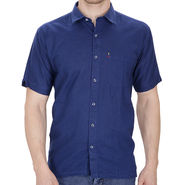 Fizzaro Plain Linen Casual Shirt For Men_Fzls102 - Blue