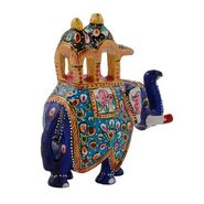 GRJ India Set Of 2 Handpainted Enamelled Metal Ambari Elephant With Meena Art