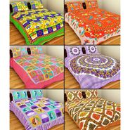 GRJ India Pure Cotton Multi Colour 6 Double BedSheet With 12 Pillow Covers-GRJ-6DB-69PK-68OG-70PL-67GRN-71PL-73BR