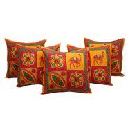 GRJ India Traditional Kantha Work Camel Print Cushion Cover Set-5 pcs-GRJ-CC-5P-35