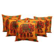 GRJ India Traditional Kantha Work  Elephant Print Cushion Cover Set-5 pcs-GRJ-CC-5P-41