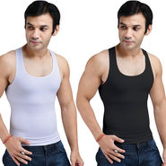 Get In Shape Set of 2 Instant Slimming Vest for Men - Black & White