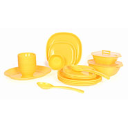 Gluman 32Pcs Microwave Safe Square Dinner Set - Yellow