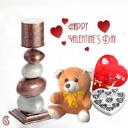 Pillar Candle Holder With Teddy And Chocolates