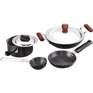 Hawkins Futura 6pcs Hard Anodized Cookware Set - Black
