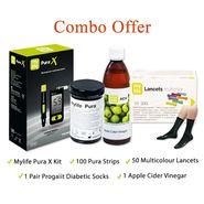 Combo Of Mylife Gluco Meter, 100 Test Strips, 50 Lancets, Apple Cider Vinegar & Diabetic Socks