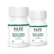 INLIFE Green Coffee Bean Extract 2 Pack 60 Veg Capsules Each �50% Chlorogenic Acid�