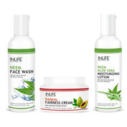 Daily Skin Care Combo - Neem Face Wash, Neem Aloe Vera Moisturizing Lotion, Papaya Fairness Cream