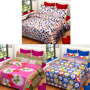 Set of 3 IWS Cotton Printed Double Bedsheet with 6 Pillow Covers-CB1372