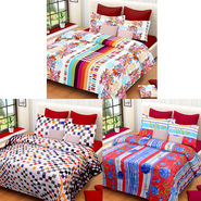 Set of 3 IWS Cotton Printed Double Bedsheet with 6 Pillow Covers-CB1382