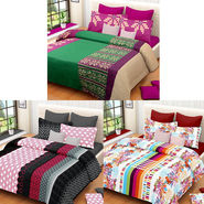 Set of 3 IWS Cotton Printed Double Bedsheet with 6 Pillow Covers-CB1386