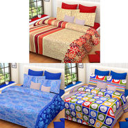 Set of 3 IWS Cotton Printed Double Bedsheet with 6 Pillow Covers-CB1410