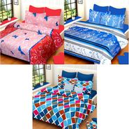 IWS Set of 3 100% Cotton Double Bedsheet with 6 Pillow Cover-IWS-CB-648