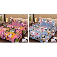 IWS Set of 2 Designer Cotton kids Double Bedsheet with 4 Pillow cover IWS-CCB-22