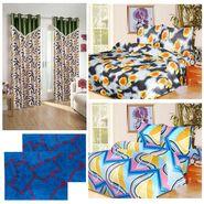 10 Piece Home Decor Combo (IWS 2 Bedsheet with 4 Pillow Covers + 2 Door Curtains + 2 Mats) -IWS-JC-11