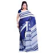 Ishin American Crepe Saree - Blue & White
