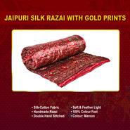 Jaipuri Silk Razai with Gold Prints