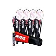 Silver's Pack Of 4 (SB-818) Badminton Racquets With 3/4 Covers (Assorted) + Pack Of 10 Marvel Shuttlecock + 1 Kitbag