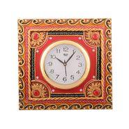 Wooden Papier Mache Red Stone Studded Artistic Wall Clock-KWC531