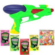 Kids Holi Pichkari Shape Squirter + 4 Herbal Gulal + Water Ballons Pack - M39 T