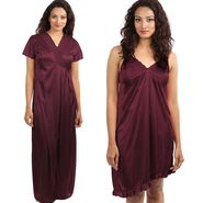 Set of 2 Klamotten Satin Plain Nightwear