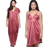 Set of 2 Klamotten Satin Plain Nightwear - YY09