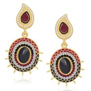 Kriaa Gold Plated Earrings - Red & Black _ 1304607