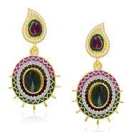 Kriaa Austrian Stone Gold Plated Earrings  - Purple & Green _ 1304609