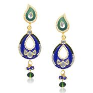 Kriaa Austrian Stone Kundan Earrings - Green & Blue _ 1304631