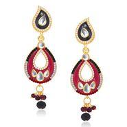 Kriaa Austrian Stone Kundan Earrings - Black & Red _ 1304634