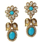 Kriaa Antique Pearl Gold Finish Earrings  - Green _ 1304909