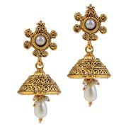 Kriaa Floral Gold Pearl Drop Earrings - Golden _ 1304933