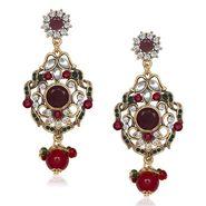 Kriaa Antique Gold Finish Kundan Earrings - Red & Green _ 1305507