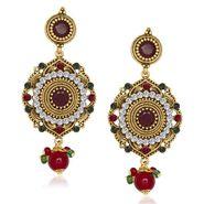 Kriaa Antique Gold Finish Kundan Earrings - Red & Green _ 1305514