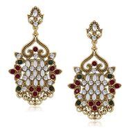 Kriaa Antique Gold Finish Kundan Earrings - Red & Green _ 1305518