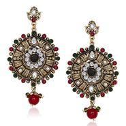 Kriaa Antique Gold Finish Kundan Earrings - Red & Green _ 1305529