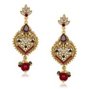 Kriaa Antique Gold Finish Earrings - Red & Green _ 1305538