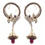 Kriaa Austrian Stone Floral Pearl Earrings - Maroon _ 1300529