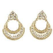 Kriaa Kundan Chand Bali Earrings - White _ 1300604