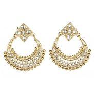 Kriaa Kundan Chand Bali Earrings - White _ 1300612