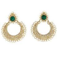 Kriaa Pearl Chand Bali Earrings - Green _ 1300620