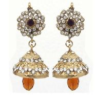 kriaa Austrian Stone Jhumki Earrings - Brown _ 1300723
