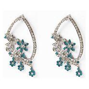 Kriaa Floral Austrian Diamond Earrings - Blue _ 1301323