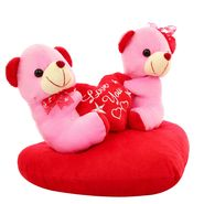 Heart With Couple Valentine Stuff Teddy - Pink