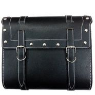 AutoStark Large Size Square Saddle Bag With Fancy Button Black For Royal Enfield