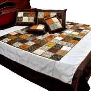 Little India Double Bedcover with 2 Cushion Cover and 2 Pillow Cover  - Multicolor