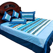 Little India Double Bedcover with 2 Cushion Covers & 2 Pillow Covers - Blue
